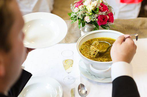 Wedding, Soup, Marriage, Eating, Groom, Dress, Bride