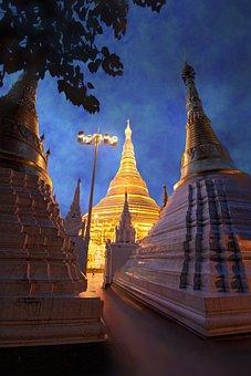 Myanmar, Shwedagon, Temple At Night, Pagoda