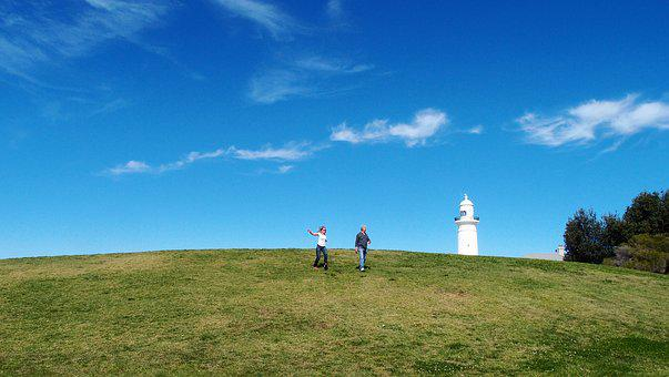 Lighthouse, Grass, Hill, People, Beacon, Coast