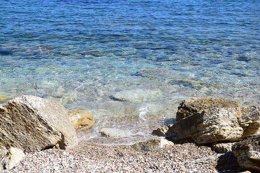 Beach, Blue, Light Blue, Ocean, Stones, Outlook, Sea