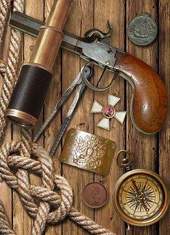 Flintlock Pistol, Spyglass, Compass, Holy Order, George