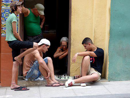 Chess, Street, Pavement, Young, Men, Havana, Game