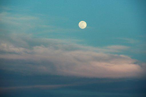 Full Moon, Sky, Abendstimmung, Lighting, Summer Evening