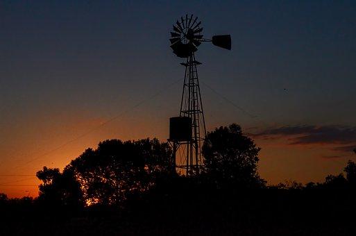 Landscape, Sunset, Wind Mill, Nature, Sun, Sunlight