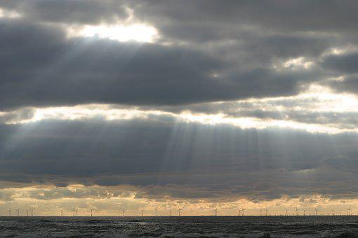 Sea, Clouds, Sunbeam, Sun, Atmospheric, Wind Park