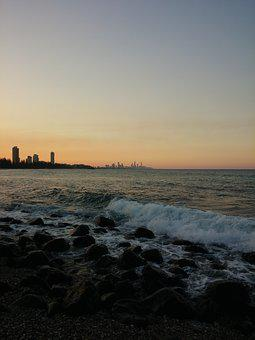 Australia, Gold Coast, Sunset, Burleigh Heads