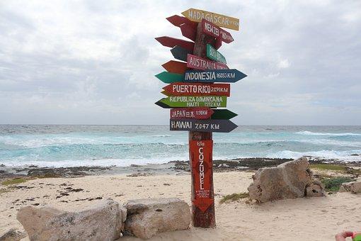 Beach, Mexico, Cozumel, Sign, Travel, Vacation