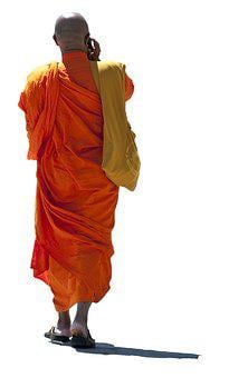 Buddhist Monk, Talk Mobile, Orange, Tunic, Walk