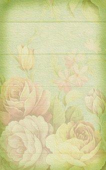 Soft, Pastel, Roses, Background, Romantic, Vintage