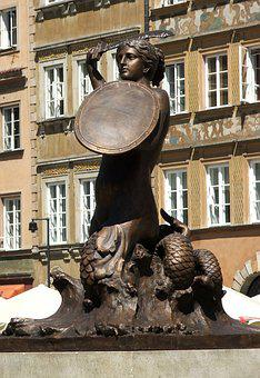 Mermaid, Warsaw, Sculpture, Monument, Sword, Fountain