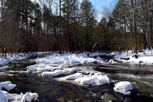 Snow, River, Winter, Cold, White, Frost, Season, Tree