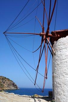 Greece, Mill, Blue Sky, Sea, Greek Island