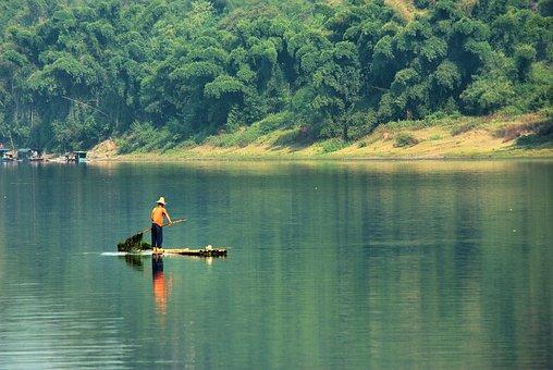 China, Yangshuo, Li River, Boat, Fisherman Algae