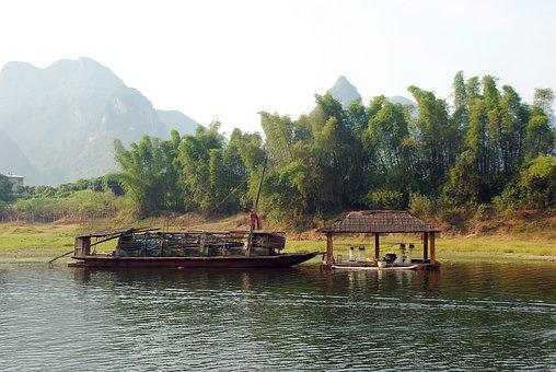 China, Yangshuo, Li River, Boat, House, Fishery, Fish