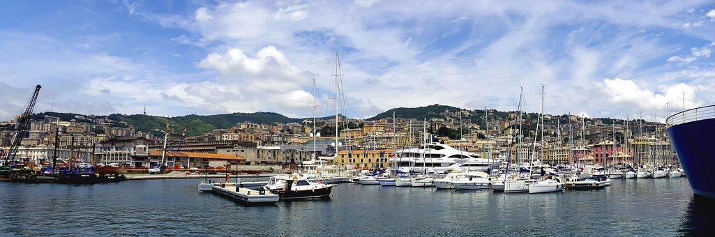 Genoa, Italy, Water, River, Building, City, Pier