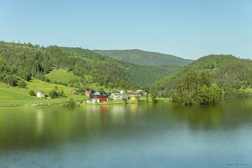 Norwegian Lake, Sky, Relax, Green, Sun, Nature, Clouds