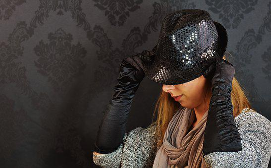 Woman, Hat, Sequins, Chic, Gloves