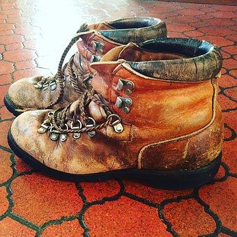 Boots, Trails, Trekking, Hiker, Worn