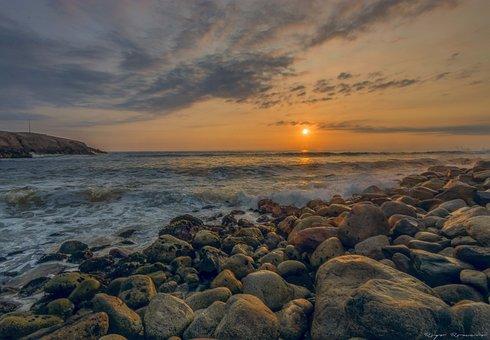 Sunset, Sea, Sky, Summer, Calm, Beach, Ocean, Horizon