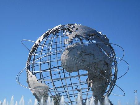 Globe, Park, Unisphere, New, York, Sphere, Landmark