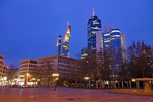 Frankfurt, Hesse, Germany, Opera Space, Night