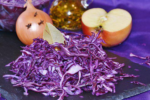 Red Cabbage, Raw, Eat, Meal, Kohl, Ruebkohl, Onion