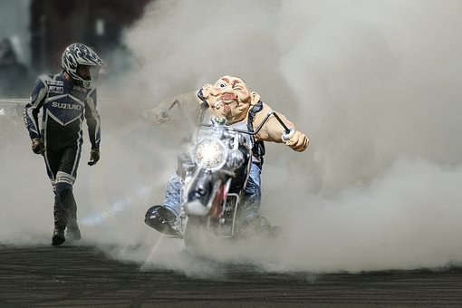 Biker, Figure, Motorcycle, Output, Role, Picture, Laugh