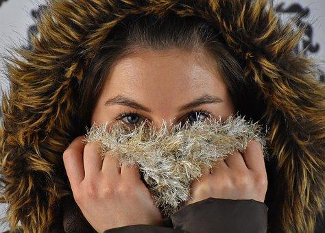 Woman, Winter, Hood, Faux Fur, Scarf, Wool Scarf, Face