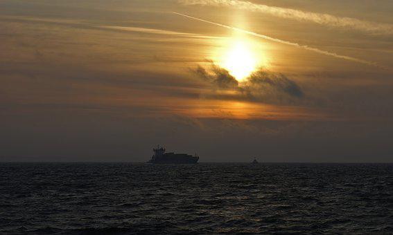 The Ship, Sea, Sunset, The Baltic Sea, View, Water