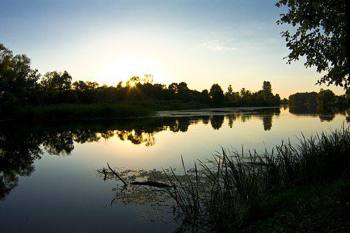River, Evening, Twilight, Silhouettes, Water
