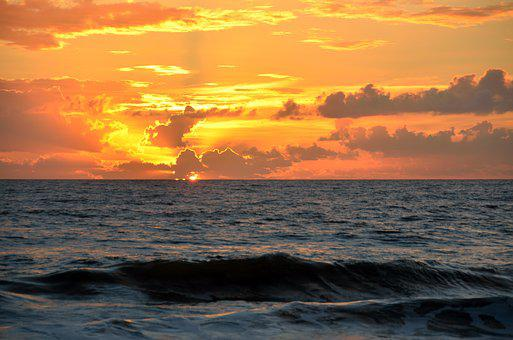 Sunrise, Vibrant, Colorful, Ocean, Waves, Early Morning