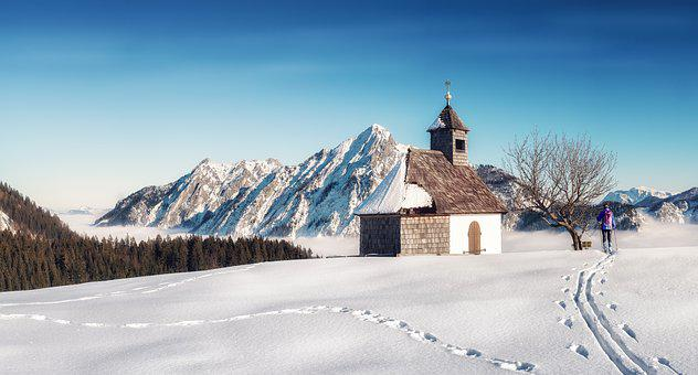 Chapel, Mountains, Winter, Alpine, Landscape, Nature