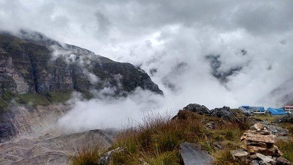 Annapurna, Basecamp, Clouds, Mountain, Nepal, Stone