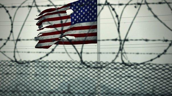 American Flag, Usa, Barded Wire, Guantanamo Bay