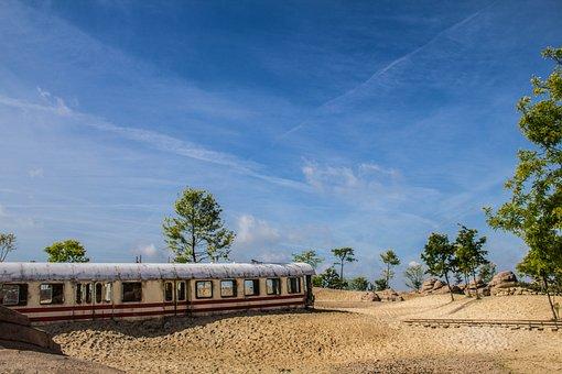 Nature, Landscape, Train, Sky, Blue, Scenic