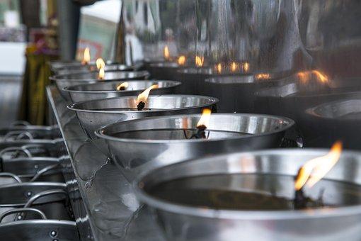 Flame, Fire, Candle, Temple, Oil, Lamp, Bonfire, Heat