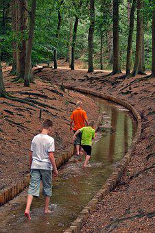 Loenen, Waterfall, Boys, Play, Forest, Hiking