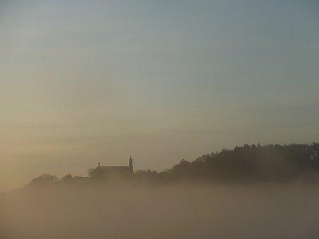 Fog, Fuda, Female Mountain, Church, Sky, Blue, Sunrise