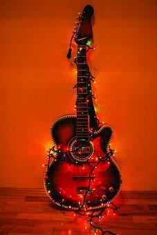 Guitar, Lights, Color, Colour, Red, Blue, Yellow, Dark