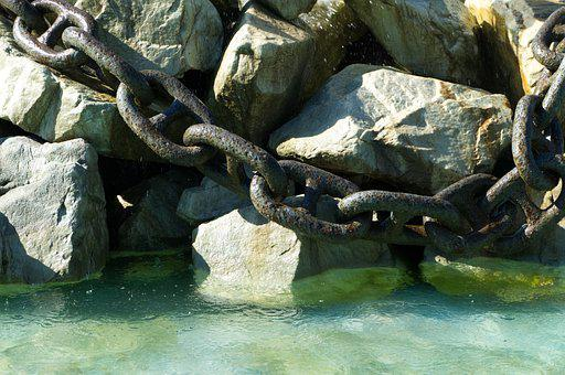 Stones, Chain, Water, Black, Metal, Brown, Iron, Fence