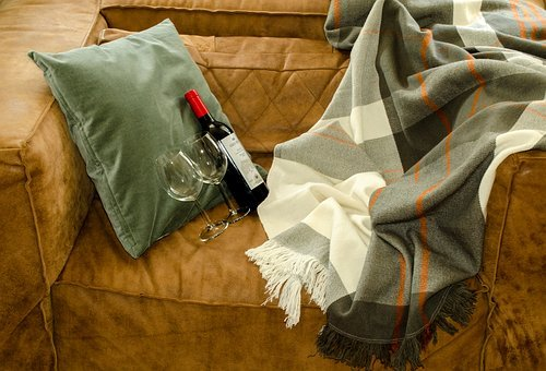 Couch, Sofa, Blanket, Pillow, Wine, Glasses, Leather