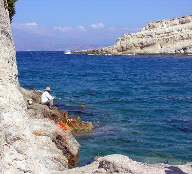 Greece, Matala, Visser, Sea, Blue Sky, Mountains, Water