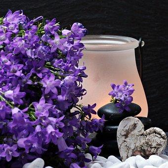 Flowers, Flower Purple, Stones, Heart, Stone Tower