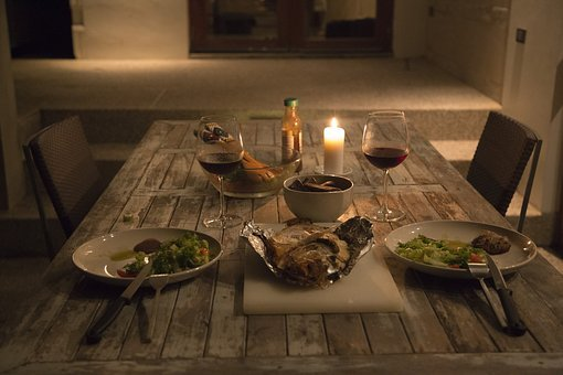Dinner, Candle, Romantic, Evening, Night, Holiday, Food