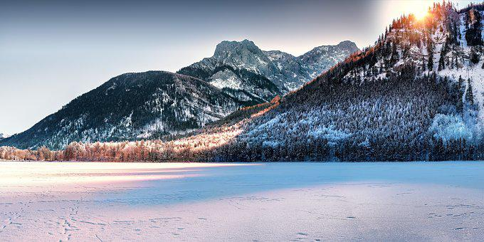 Lake, Mountains, Wintry, Leggy, Austria, Salzkammergut
