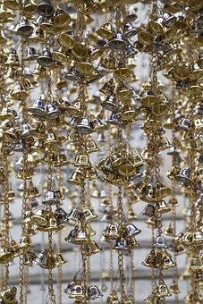 Temple, Bells, Hang, Gold, Silver, Metal, Shiny, Shine