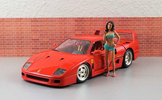 Model Car, Ferrari, F40, Sporty, Red, Vehicle, Toys