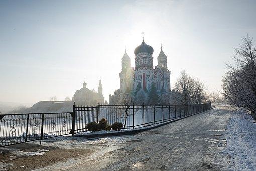 Panteleimon Cathedral In Kiev, Temple, Fog, Morning