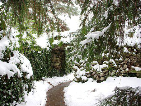 Grotto, Prayer, Path, Winter, Religion