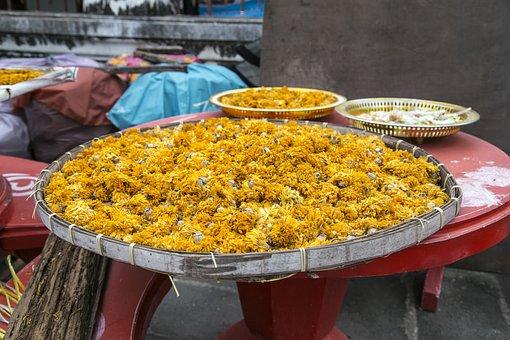 Temple, Flowers, Dry, Orange, Ritual, Buddhism, Pagoda